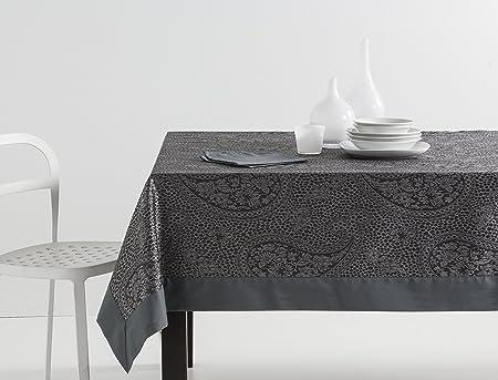 ESTELA - Mantel Jacquard con Aplique Kashmir Color Gris - 155x300 cm. - Incluye servilletas - 50% Algodón / 50% Poliéster: Amazon.es: Hogar