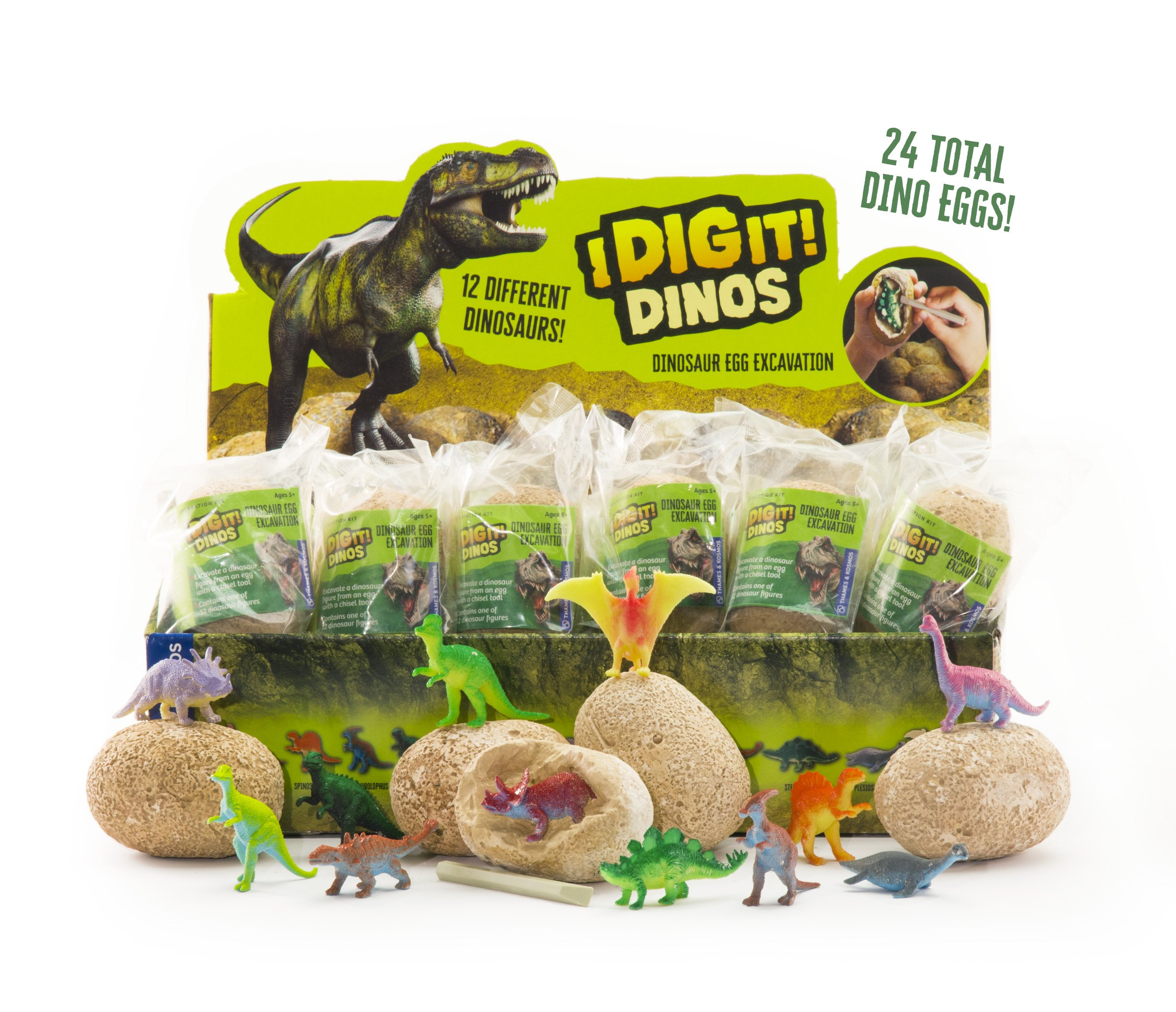 Thames & Kosmos I Dig It! Dinos - 24 Dinosaur Egg Gift Set Excavation Kit, Party Favors, Stocking Stuffers, Easter Baskets, Collect Them All, Includes Bonus Content from