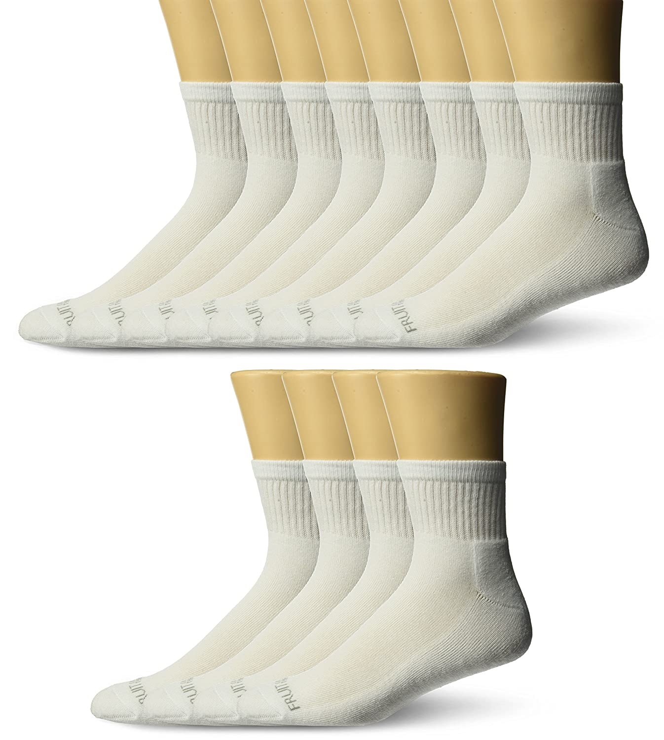 Fruit of the Loom Men's 12 Pair Big and Tall Half Cushion Ankle Sock, -white Shoe size 12-16 K4510W12