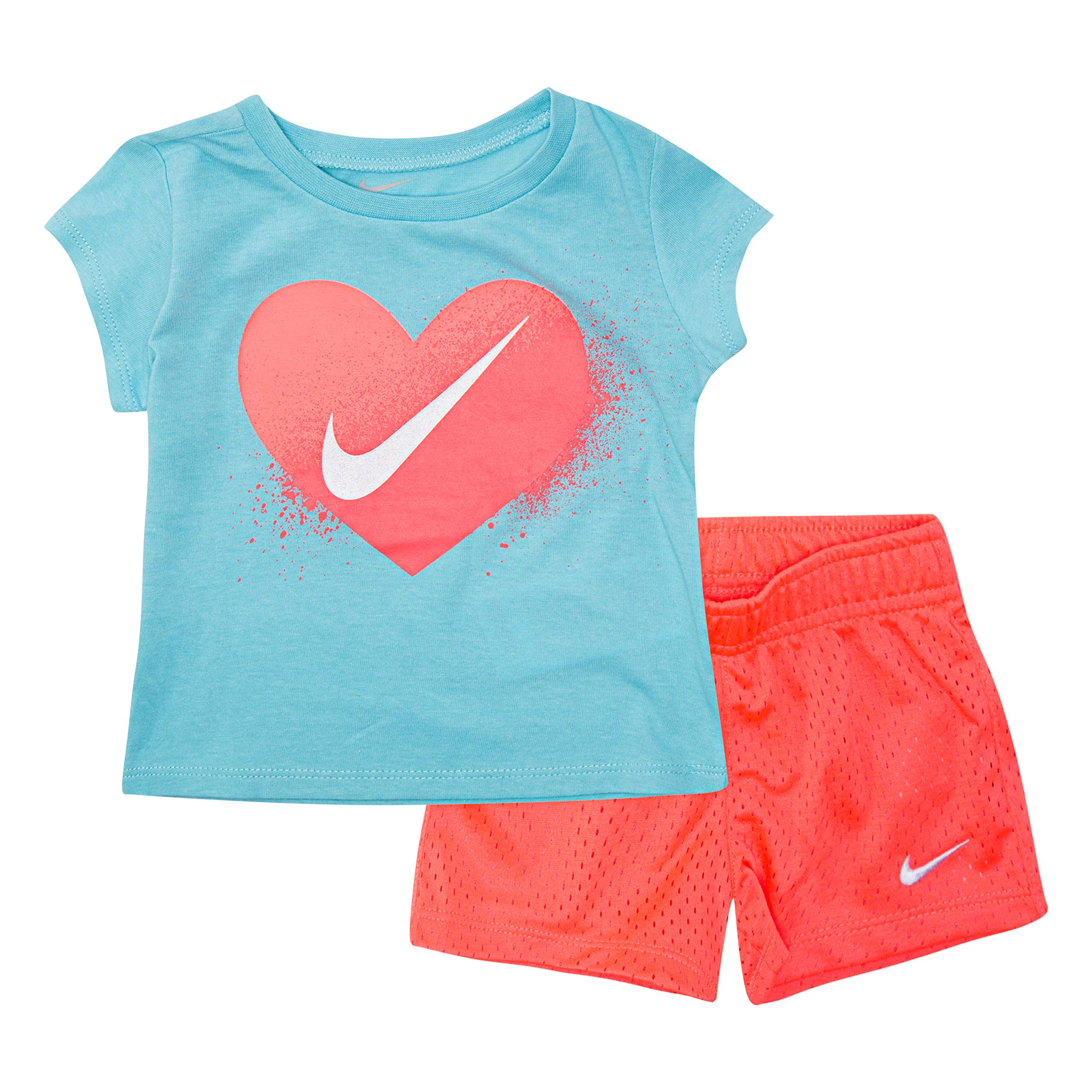 NIKE Children's Apparel Girls' Toddler Graphic T-Shirt and Shorts 2-Piece Outfit Set, Hot Punch/Bleached Aqua, 4T