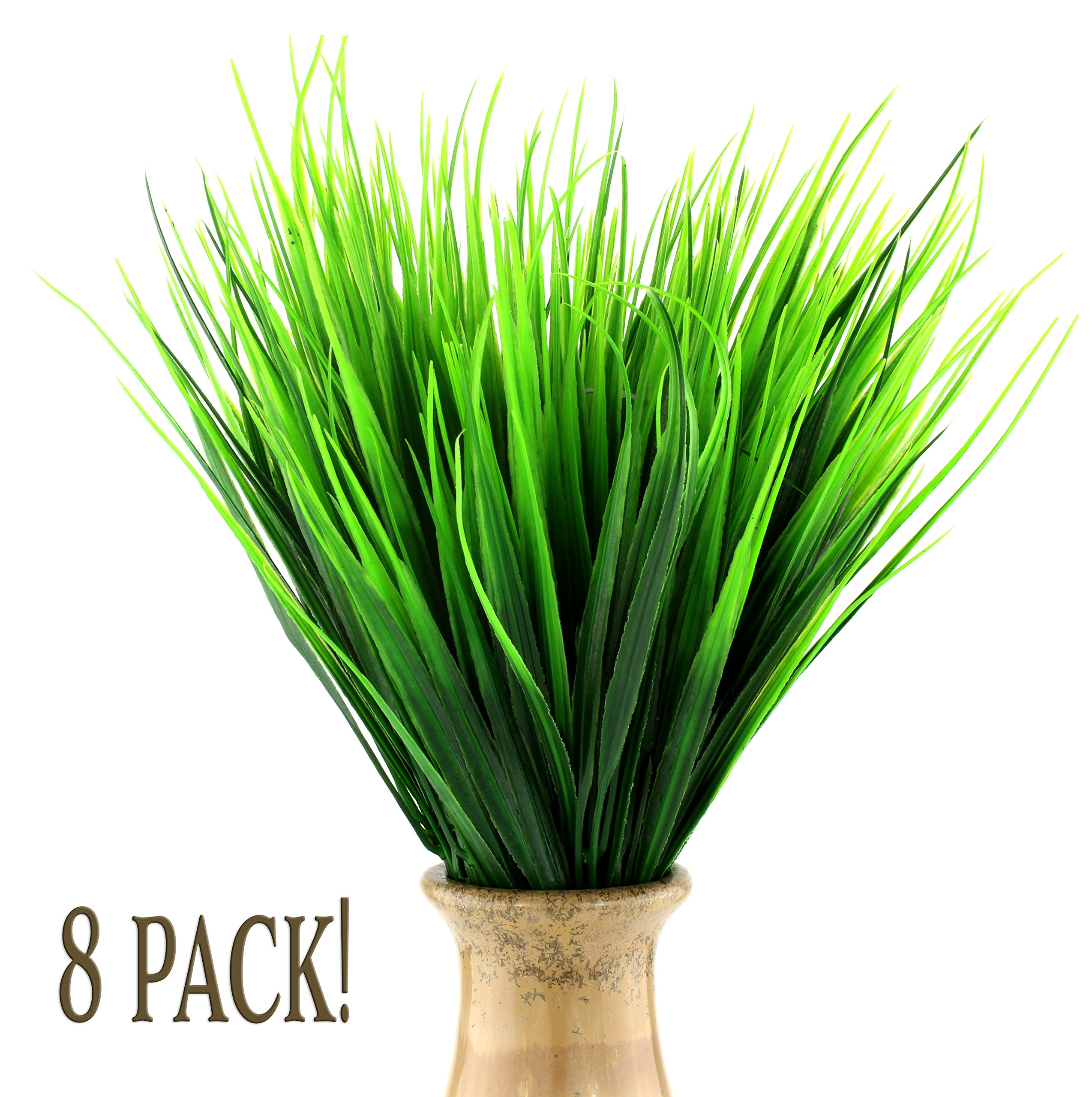 Faux Plastic Wheat Grass (8 Bunches); Artificial Wheatgrass Stalks Fake Decorating Shrubs for Indoor/Outdoor Imitation Plants