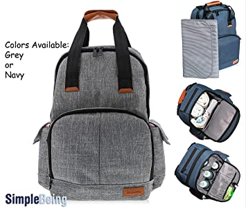 9777cf2116404 Simple Being Baby Diaper Bag Backpack, Large Waterproof Multi-Function Nappy  Travel Bags for