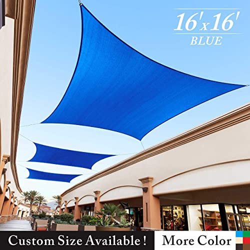 Royal Shade 16 x 16 Blue Square Sun Shade Sail Canopy, 95 UV Blockage, Heavy Duty 200GSM, Custom Made Size