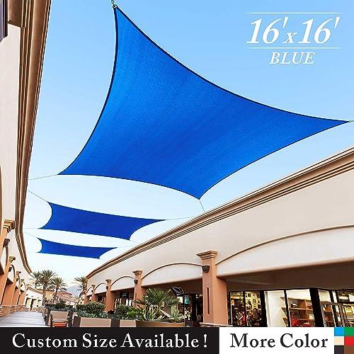 Royal Shade 16 x 16 Blue Square Sun Shade Sail Canopy