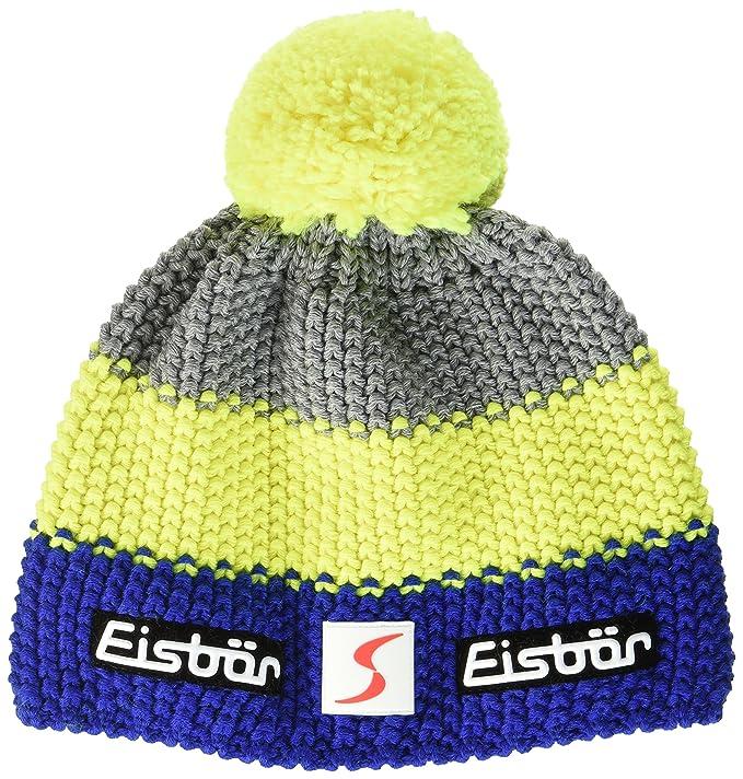 Gorro de marca Eisbär con pompon amarillo neón para ski