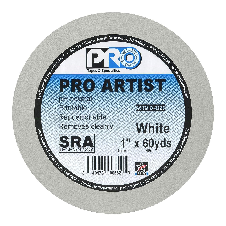 x 60 yds. blanc 1 ProTapes 840178006684 Artist Tape Ruban adh/ésif 1 in 24mm x 55m