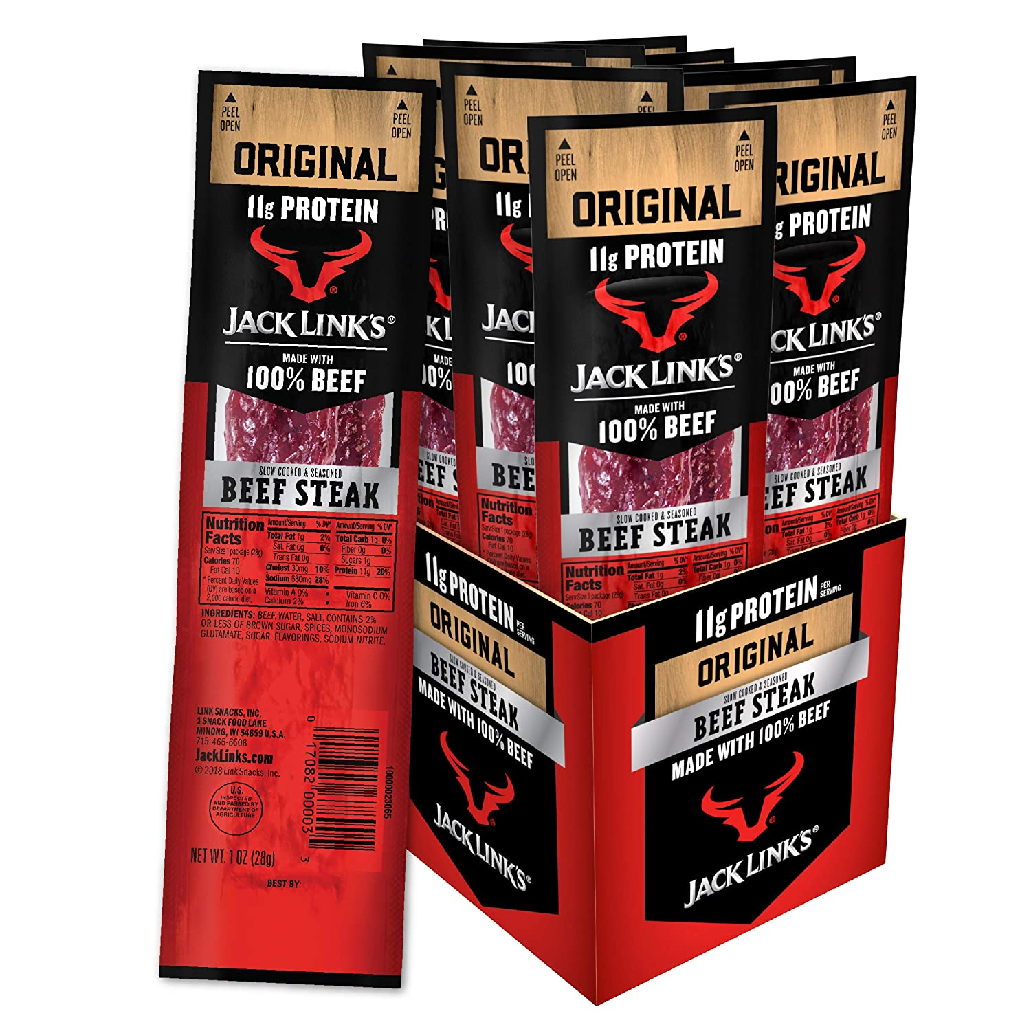 Jack Links Premium Cuts Beef Steak, Original, Strips -Great Protein Snack with 11g of Protein and 1g of Carbs per Serving, Made with 100% Premium Beef, 1 Ounce (Pack of 12)