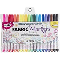 Tulip Permanent Nontoxic Fabric Markers, 20 Pack, Multicolor