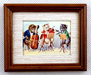 Melody Jane Dolls Houses Cat Orchestra Picture Painting in Walnut Frame Miniature Accessory