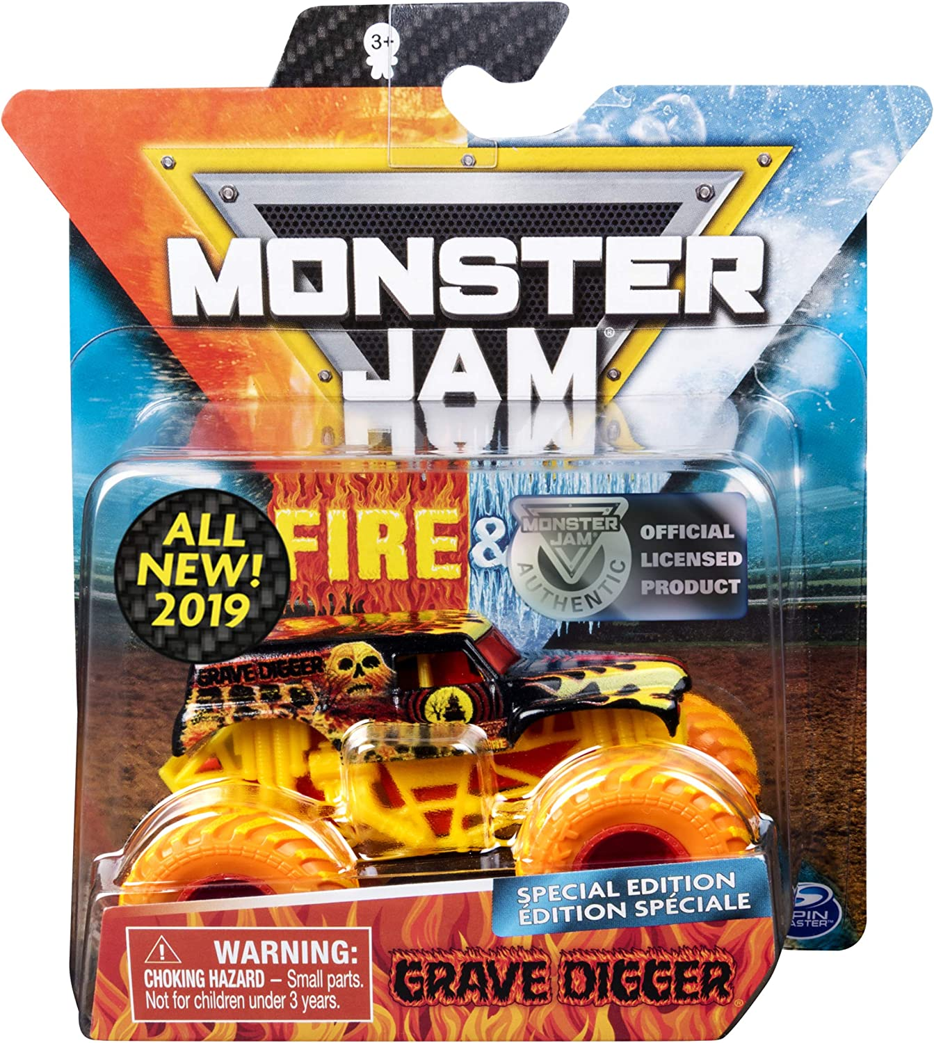 Amazon Com Monster Jam Fire Ice Special Edition Monster Truck Die Cast Vehicle 1 64 Grave Digger Toys Games