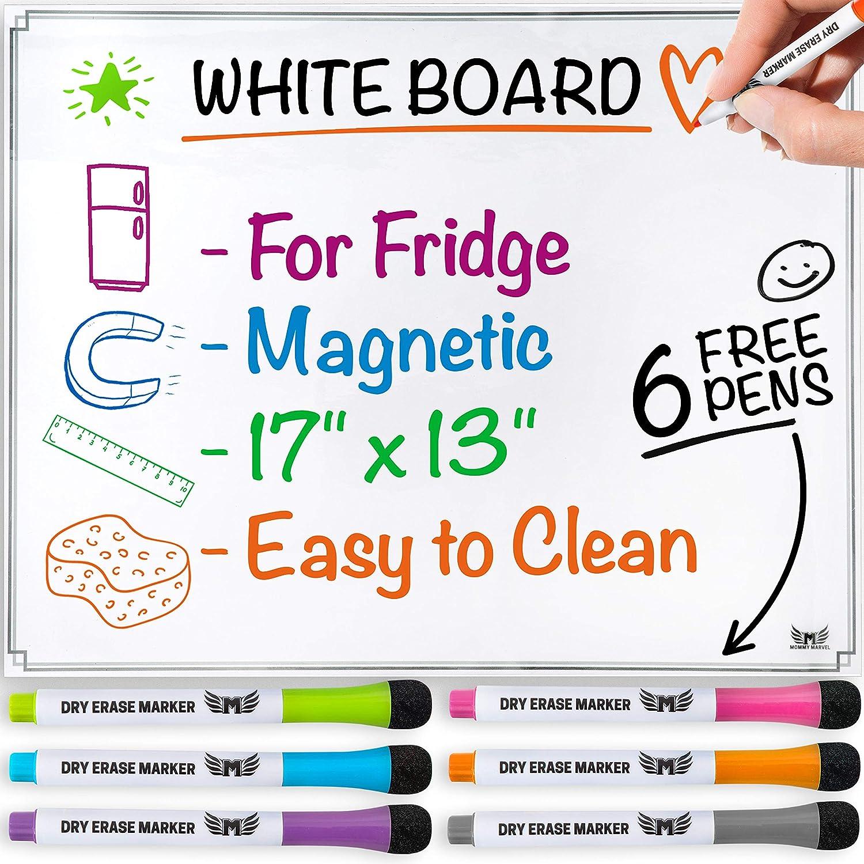 Pizarra blanca magnética para refrigerador, pizarra de ...