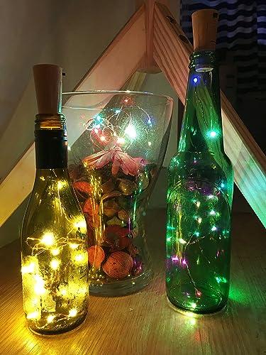 TedGem 6 pcs Botella de luz,orcho Micro Luces LED para Botella de Vino, Vicloon Guirnaldas tapón brillante, de alambre de cobre