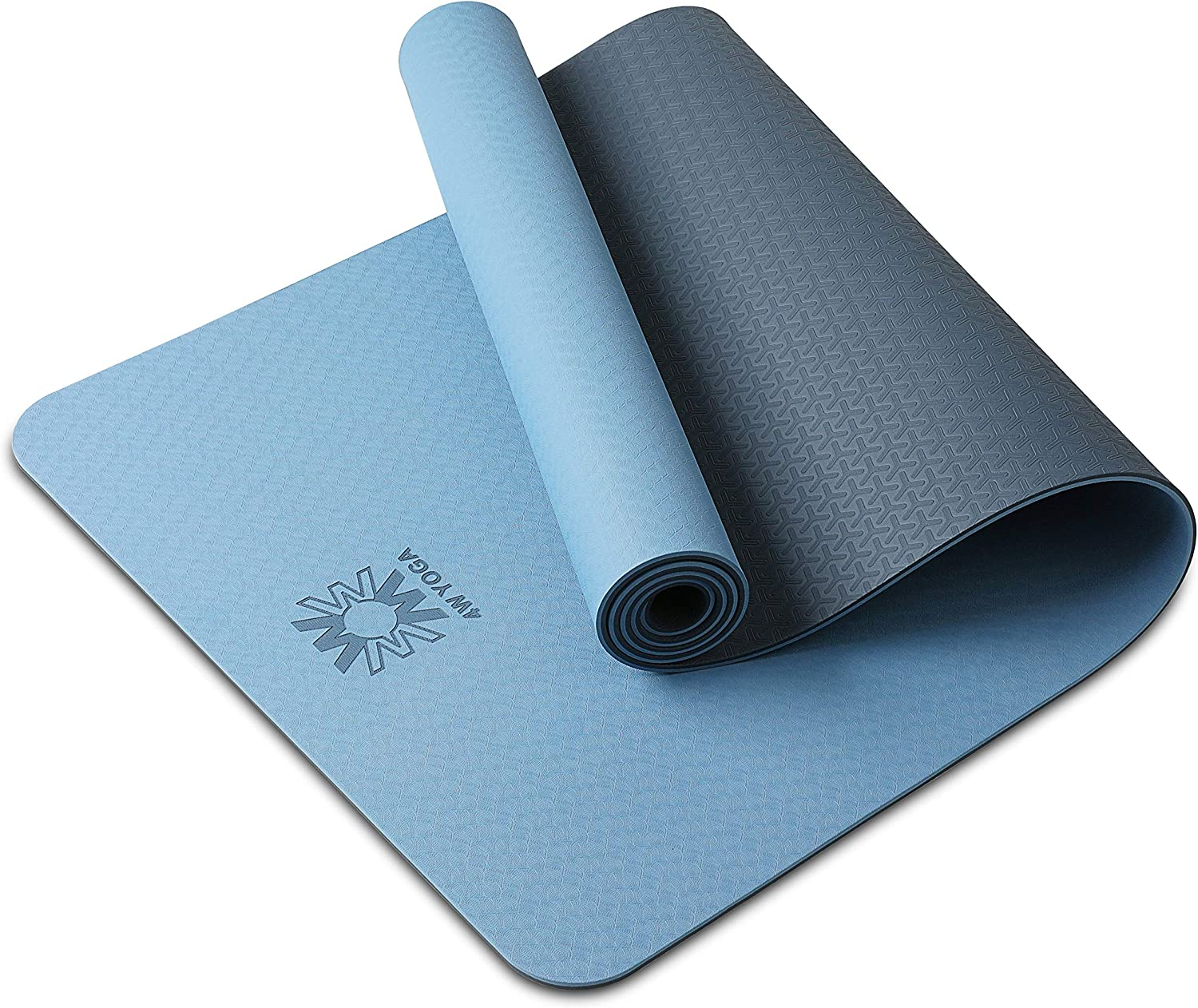 """WWWW 4W Yoga Mat Eco Friendly TPE Non Slip Yoga Mats by SGS Certified with Carrying Strap,72""""x24"""" Extra Thick 1/4"""" for Yoga Pilates Fitness Exercise Mat"""