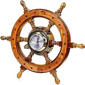 Nagina International Pirate Style Nautical Wood Crafted Ship Wheel | Teak Finish | Captain Maritime Beach Home Decor Gift (16 inches)