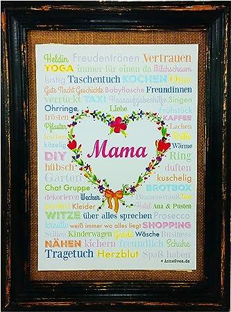 MAMA A4 Muttertag Geburt Poster Druck Geschenk Babyshower Babyparty Hochzeit Mothersday Danke Mitbringsel Schwiegermutter