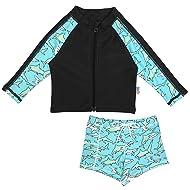 SwimZip Kid UPF 50+ Long Sleeve Rash Guard + Euro Shorties Set (Multiple Colors)