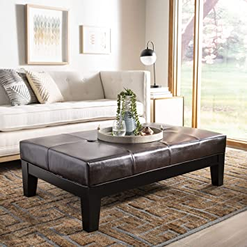 Excellent Safavieh Hudson Collection Liam Leather Cocktail Ottoman Brown Ncnpc Chair Design For Home Ncnpcorg