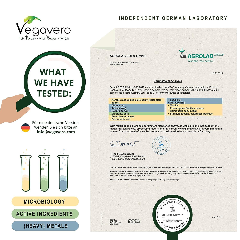 Betacaroteno Vegavero® | EL ÚNICO NATURAL | Acelerador Bronceado + Protección de la Piel + Vista | Extracto de Zanahoria | Vitamina A + Luteína + ...