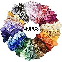 Mcupper 40 Pcs Hair Scrunchies Satin Elastic Hair Bands Scrunchy Hair Ties Ropes Scrunchie for Women Girls Hair…