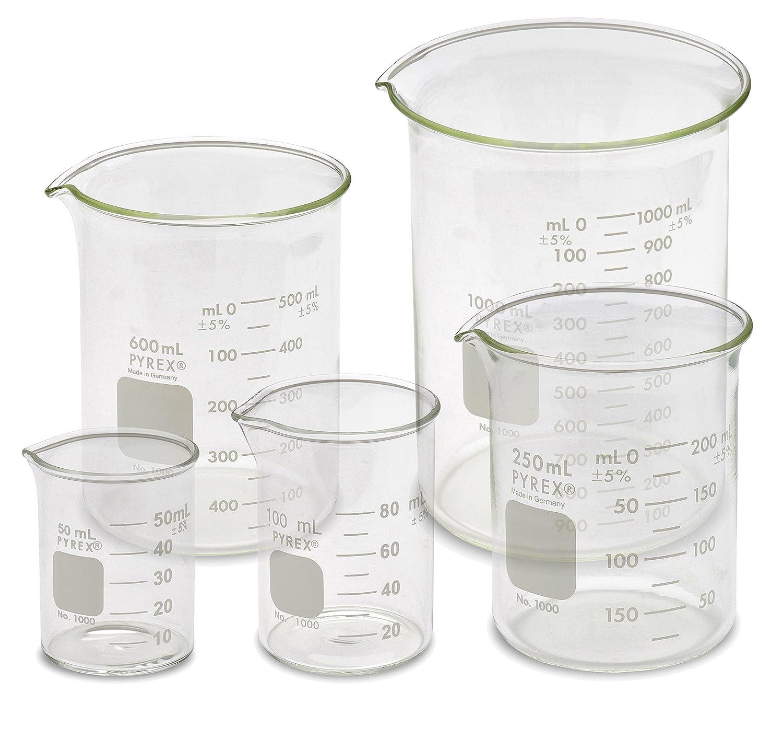 Corning Pyrex® #1000 Griffin Low Form, Glass Beaker Set - 5 Sizes - 50ml, 100ml, 250ml, 600ml, 1L Karter Scientific