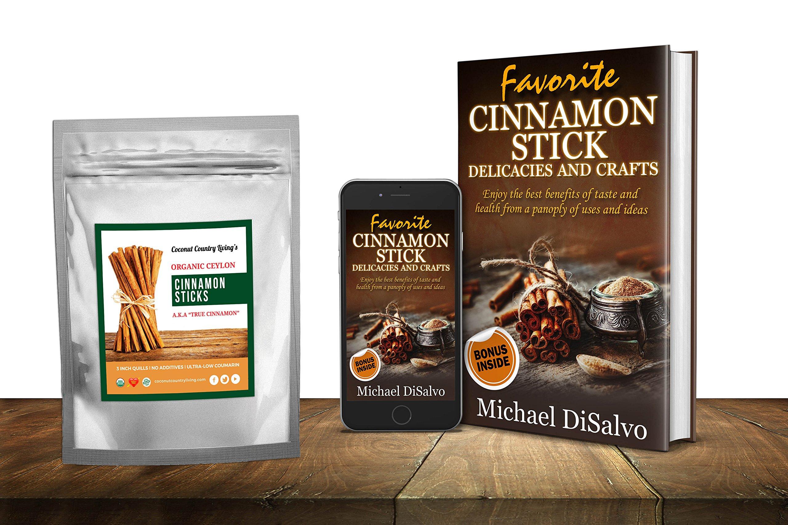 Organic Cinnamon Sticks Ceylon 3.5 oz Fairtrade, Freshly Harvested in Ceylon w/E-BOOK by Coconut Country Living (Image #3)