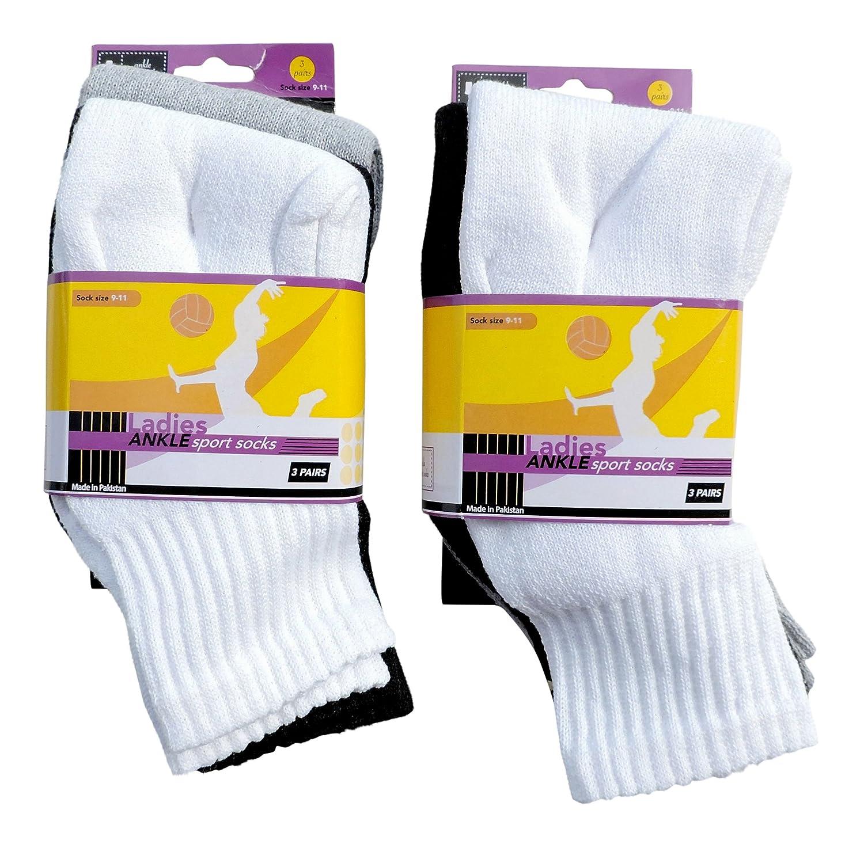 6 pair Ladies Sport Ankle Crew Quarter Socks White