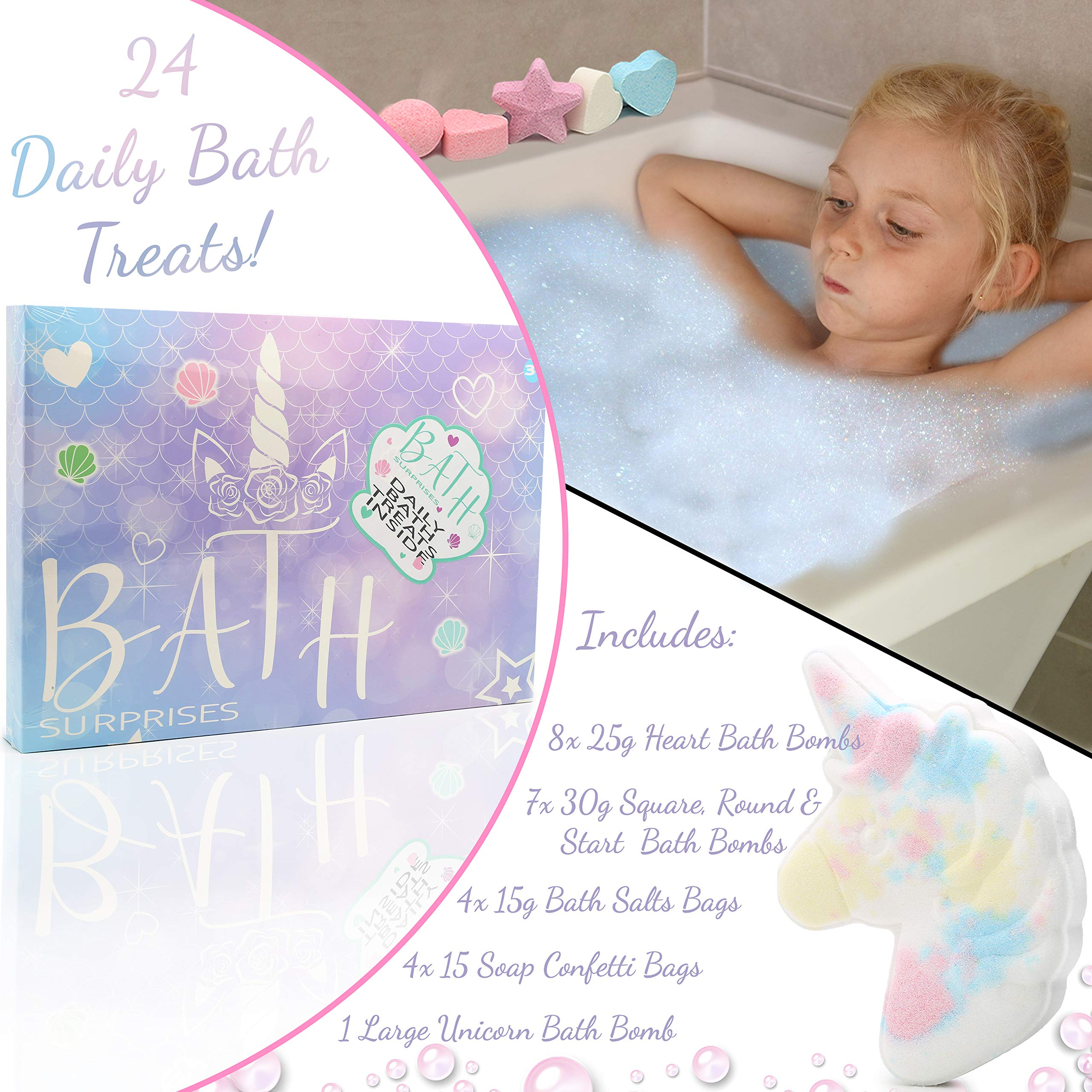 KreativeKraft Unicorn Bath Bomb Surprises Gift Set includes 24 Scented Cosmetics Bath Bombs Confetti and Salts | Fragrance Pamper Present Idea For Girls | Kids Bathbomb Set With Ball Heart Cube