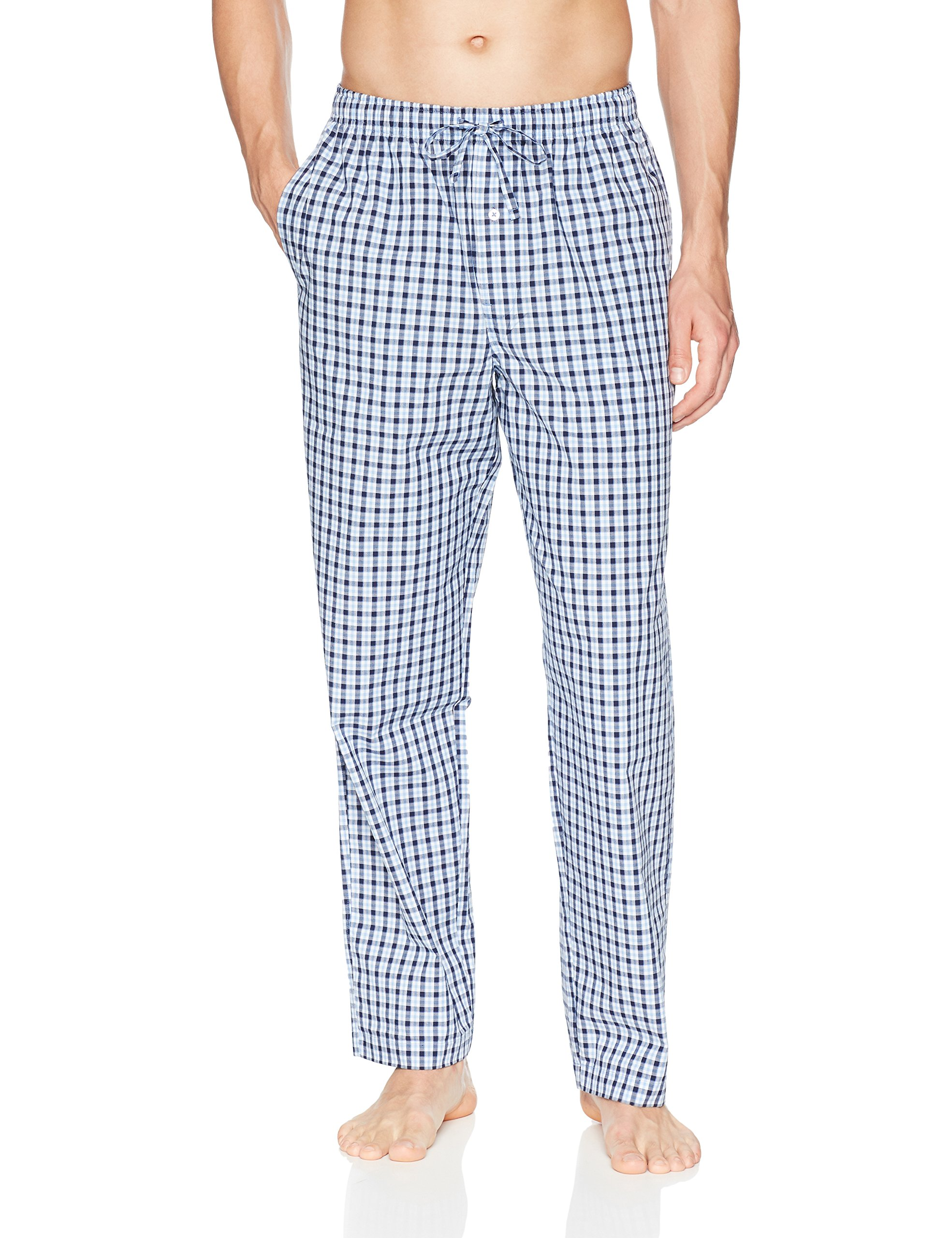 Amazon Essentials Men's Woven Pajama Pant, Light Blue/Navy Plaid, Medium