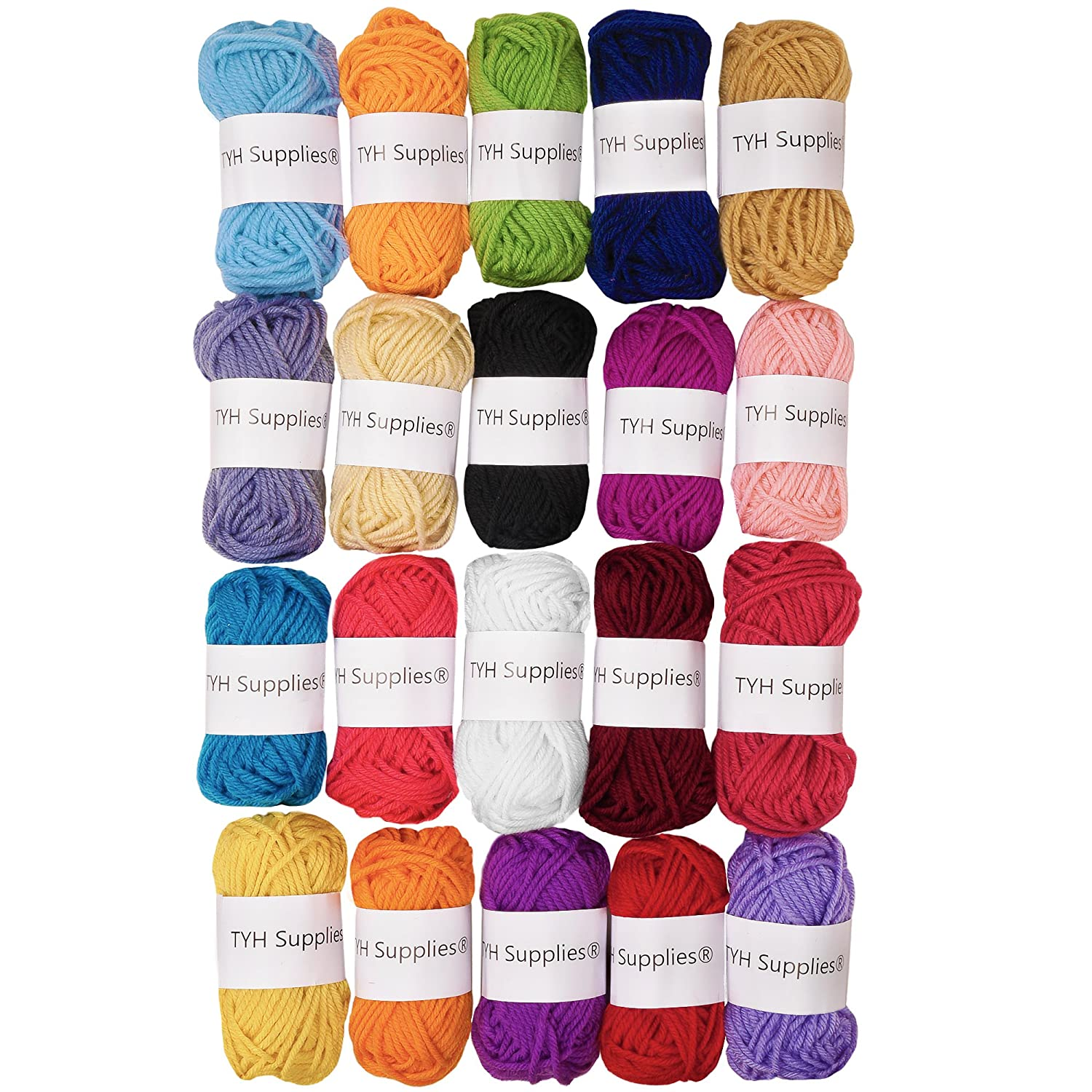 TYH Supplies Acrylic Yarn Assorted Colors Skeins - Perfect for Mini Knitting and Crochet Project (Assorted, 44 Yard - 50 Pack)