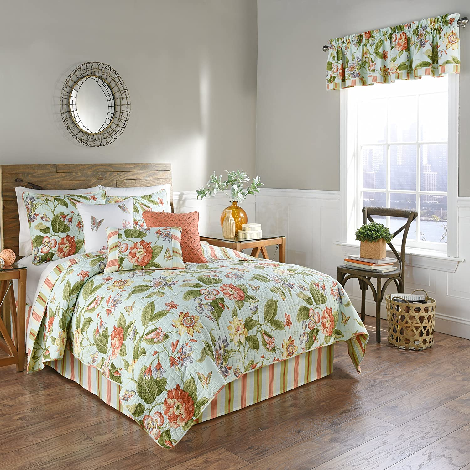 Waverly Laurel Springs 4 Piece Quilted Reversible Bedspread Coverlet Sets, Full/Queen, Opa
