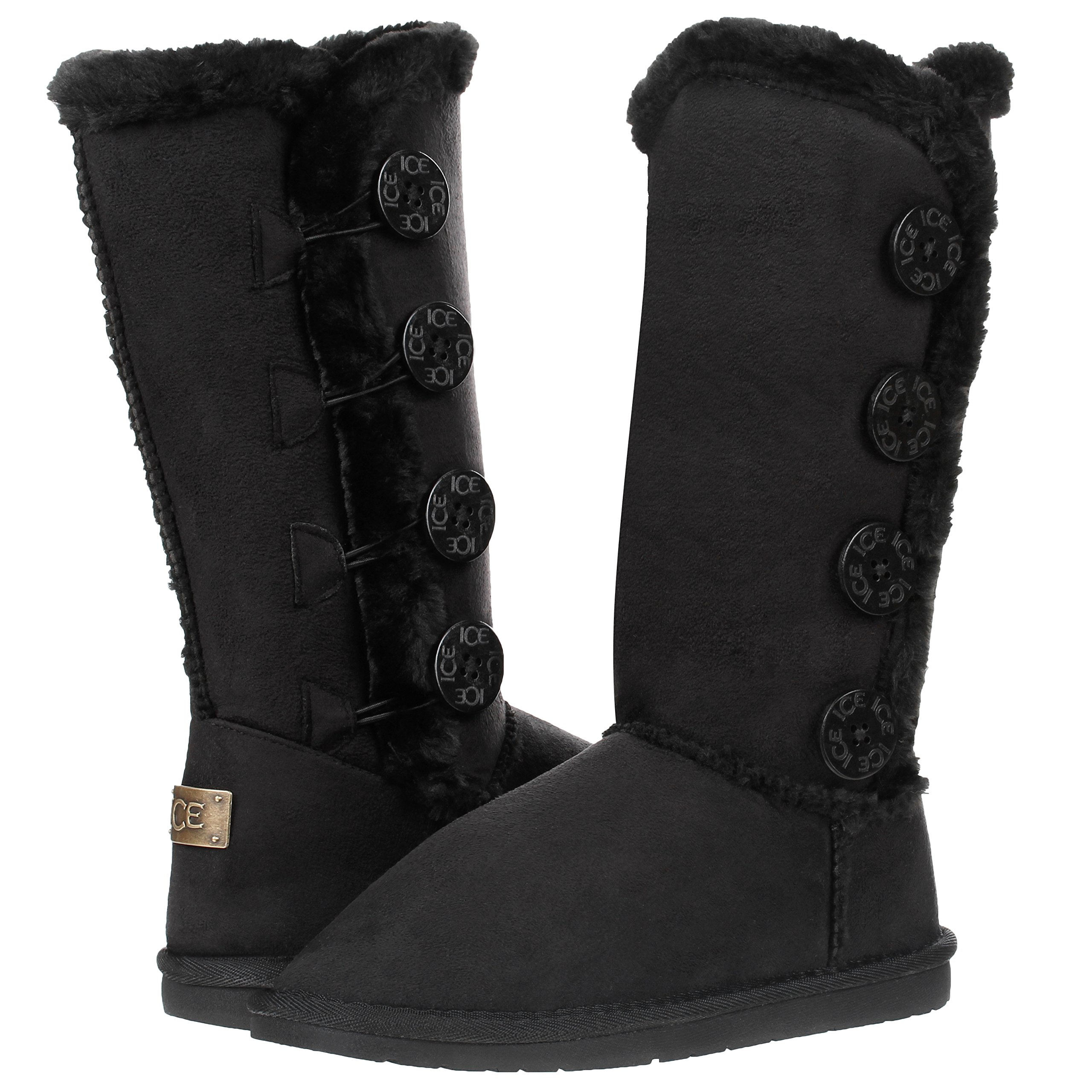 New Women's Four Button Faux Fur Lined Shearling Mid Calf Winter Boots (10, Black)