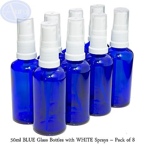 Pack de 8 botellas con atomizador blanco - Cristal azul - 50 ml Uso para aceites