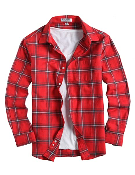 e692ba3cd01 Amazon.com: Joey CV Mens Flannel Shirts Plaid Regular Fit Long ...