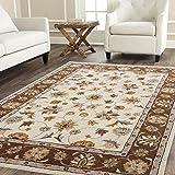 Carpet Craft Persian Collection Ivory & Brown Handmade Wool Carpet 5 Feet x 7 Feet (150 x 210 cm) Woolen Carpet for Living Room Carpet for Home