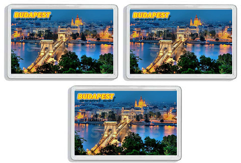 AWS Set di 3 Magneti in pvc rigido Budapest Ungheria souvenir Danubio gadget calamita fridge MAGNET magnete da frigo in plastica dura con immagine fotografica città Hungary (7, 8_x_5, 2_cm)