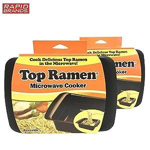 Top Ramen Rapid Cooker 2 Pack - Microwave Ramen in 3 Minutes - BPA Free and Dishwasher Safe - Black