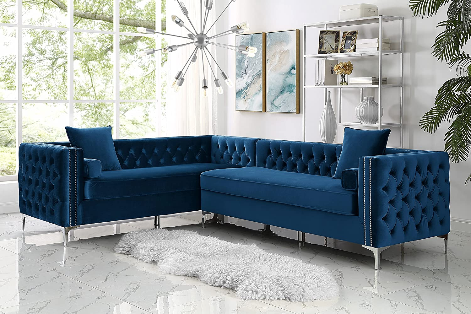 Amazon Com Inspired Home Navy Corner Sectional Sofa Design