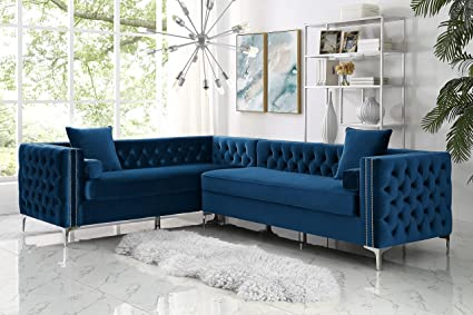 Giovanni Blue Corner Sectional Sofa   120u0026quot; Left Facing | Velvet Tufted  | Nailhead |