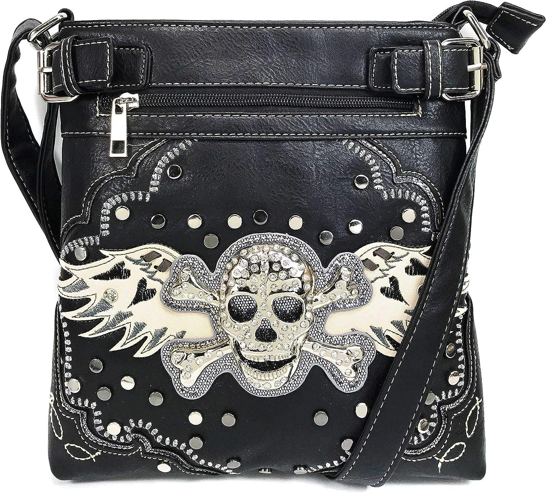 Justin West Rhinestone Skull Embroidery Floral Design Shoulder Chain Handbag