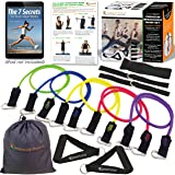 Premium Resistance Bands Set – Lose Body Fat, Increase Muscle Strength – Set Includes 5 Heavy-Duty Exercise Bands, 2 Padded Handles, 2 Ankle/Foot Straps, Door Anchor & Travel Pouch