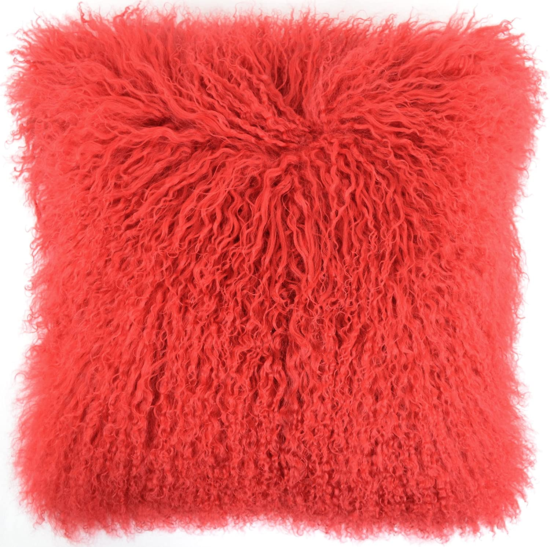 White SNUGRUGS Mongolian Long Curly Wool Sheepskin Cushion//Pillow /& Cushion Inner 40cm x 40cm