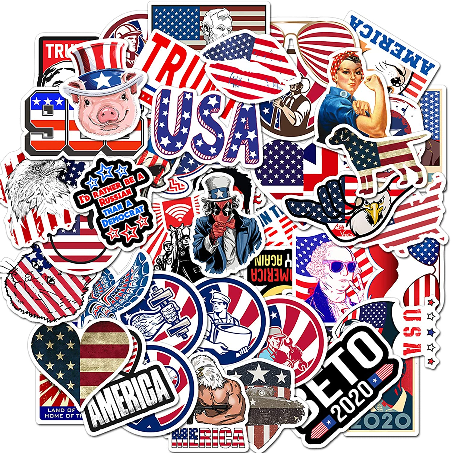 50 Pcs American Stickers Independence Day Decals for Water Bottle Hydro Flask Laptop Luggage Car Bike Bicycle Waterproof Vinyl Stickers Pack