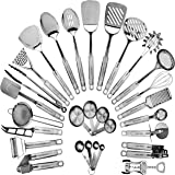 HOME HERO Stainless Steel Kitchen Utensil Set - 29 Cooking Utensils - Nonstick Kitchen Utensils Cookware Set with Spatula - B