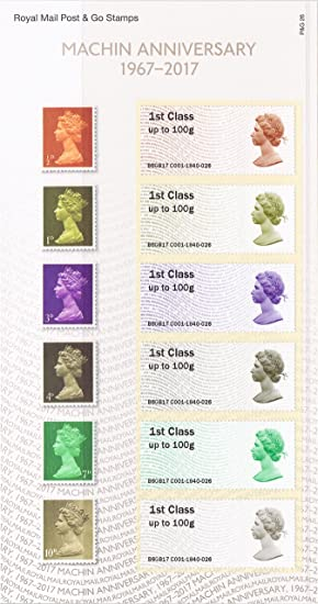 2017 Machin Anniversary Post And Go Stamps In A Royal Mail
