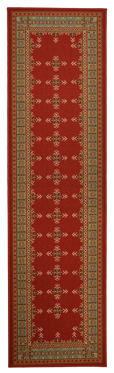 Traditional Kilim Design Runner Rug For Kitchen Hallway Laundry Room Entry Slip Skid Resistant Rubber Backing (Red, 2x7)
