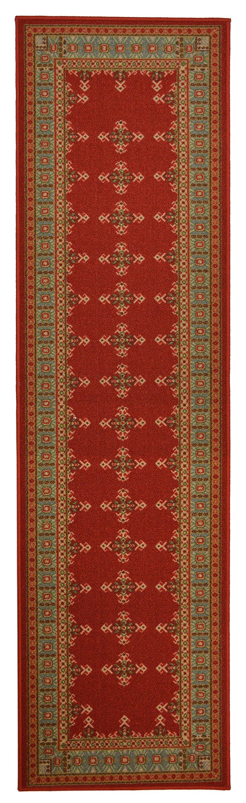 Traditional Kilim Design Runner Rug For Kitchen Hallway Laundry Room Entry Slip Skid Resistant Rubber Backing (Red, 2x7)