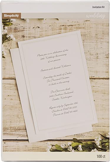 Simplicity Ivory Wedding Invitation Cards With Envelopes 100pc 5 5 W X 8 5 L