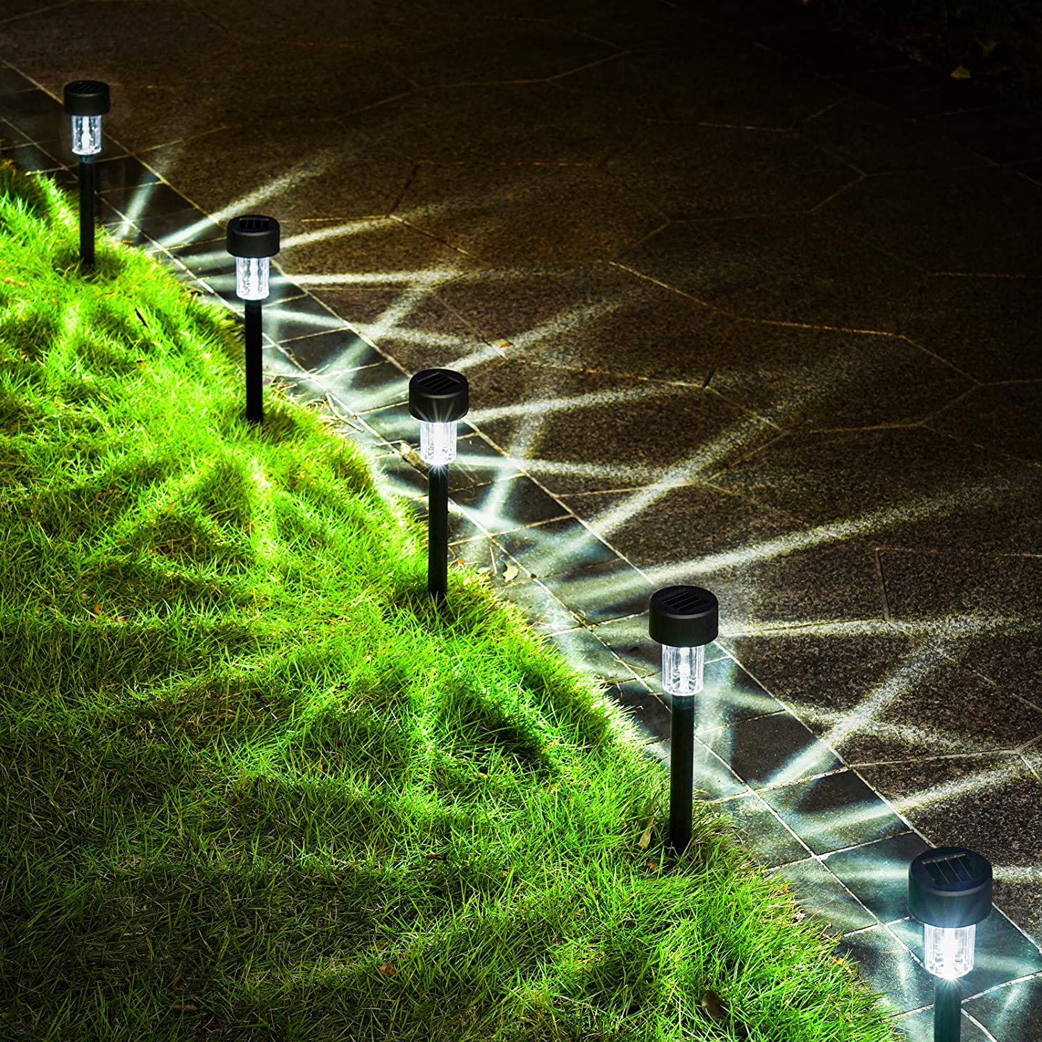 GIGALUMI Solar Pathway Lights Outdoor 12 Pack, Bright Solar Powered Garden Lights, Waterproof Solar Landscape Lights Outdoor for Pathway, Lawn, Yard, Patio, Path, Walkway Decoration (Cold White)