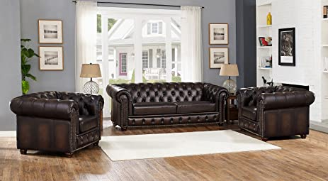 Amax Leather Albany Three Piece 100% Leather Sofa Set, Brown