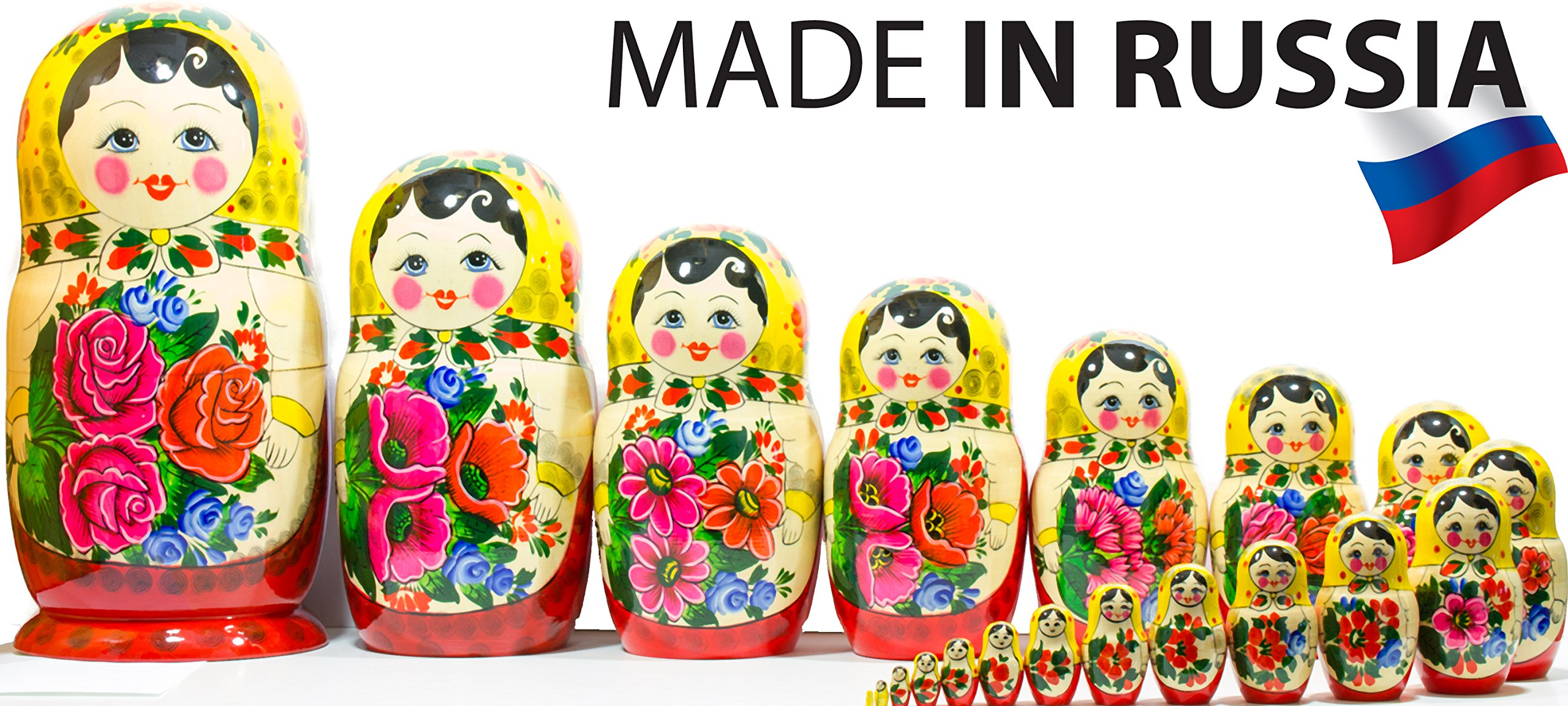 Russian Nesting Doll -Semenovo - Hand Painted in Russia - 6 Color|Size Variations - Wooden Decoration Gift Doll - Traditional Matryoshka Babushka (14``(20 Dolls in 1), Yellow - Red) by craftsfromrussia (Image #1)